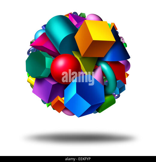 Geometry obects symbol as a group of three dimensional geometric shapes in the form of a globe with figures as a - Stock Image