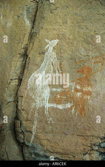 Aboriginal art on rock - Stock Image