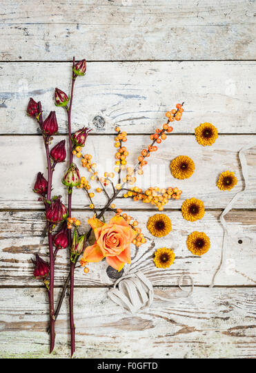 Autumn Fall still life with flowers berries ribbon on rustic wooden surface - Stock Image
