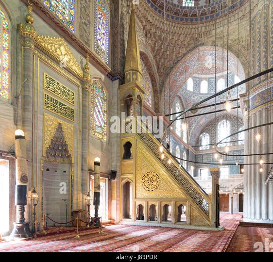 Marble floral golden ornate minbar (Platform) and niche, Sultan Ahmet Mosque (Blue Mosque), Istanbul, Turkey - Stock Image