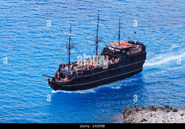Fun cruise ship, Black Pearl from Ayia Napa, Cyprus off Cape Greco. - Stock Image