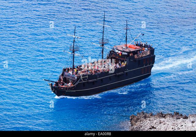 Fun cruise ship, Black Pearl from Ayia Napa, Cyprus off Cape Greco. - Stock Image