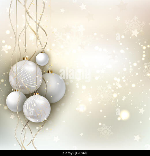 Decorative Christmas background with hanging baubles - Stock Image