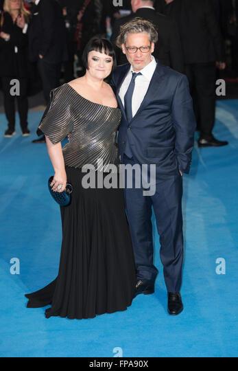 London, UK. 17th March 2016. Dalia Ibelhauptaite and Dexter Fletcher attends 'Eddie The Eagle' film premiere - Stock Image