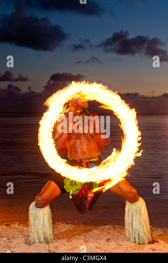 Traditional Fijian Fire dancers performing Shangri-La Resort, Coral Coast, Viti Levu Island, Fiji - Stock Image