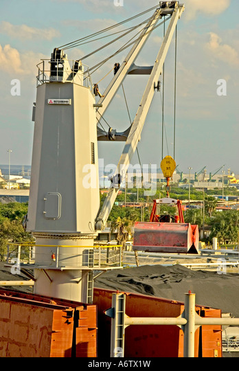 Tampa Bay Florida  Port of Tampa cargo ship at dock unloading - Stock Image