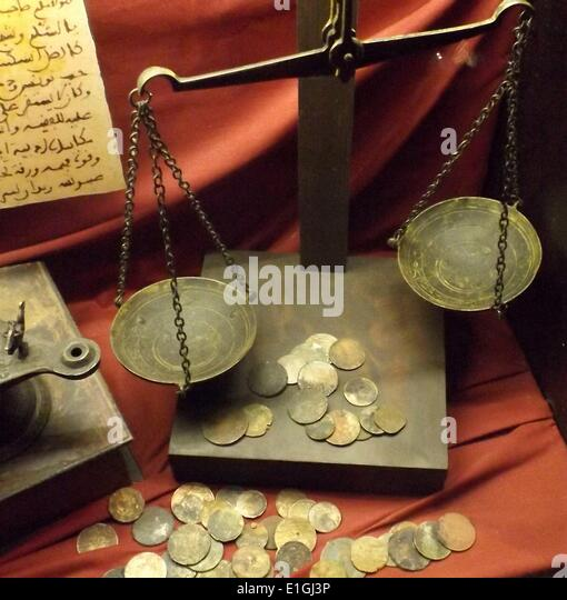 Antique Balance Scale to measure the weight of valuable commodities. - Stock Image