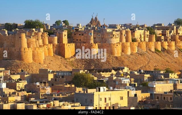 Panoramic view skyline of Jaisalmer Fort, Jaisalmer, Rajasthan, India - Stock Image