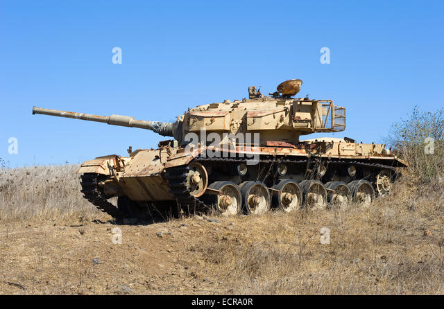Old centurion tank of the yom kippur war close to the syrian border on the Golan Heights in Israel - Stock Image