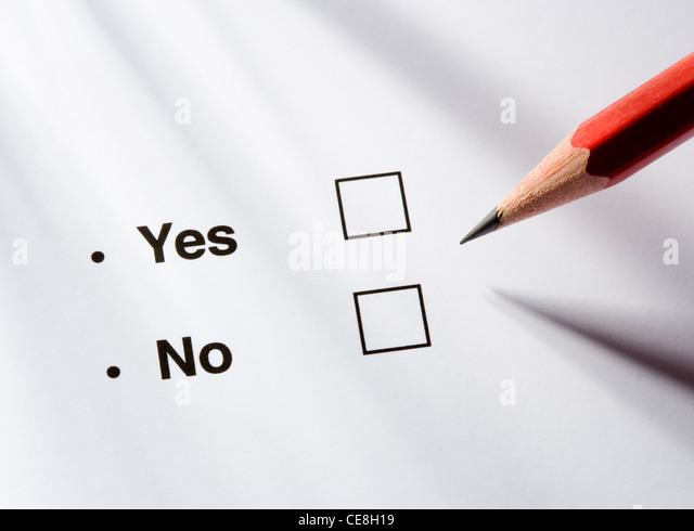 Yes/no option and pencil - Stock Image