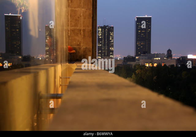 Mexico, Mexico City. Downtown Mexico City at night. - Stock Image