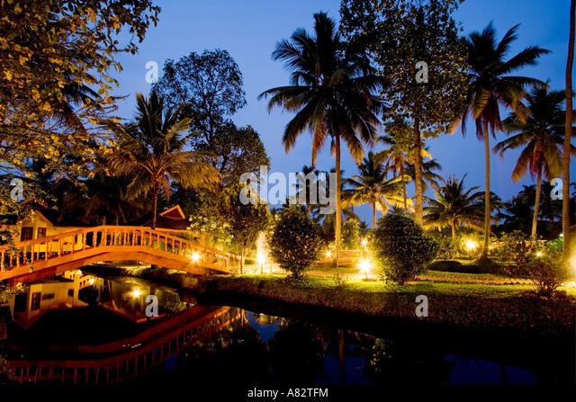 India Kerala Kumarakom backwaters Golden Waters Resort twilight - Stock Image