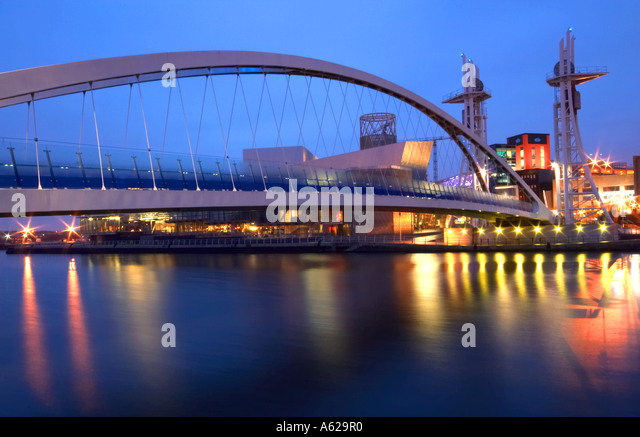 Footbridge Leading to The Lowry Centre Manchester UK - Stock Image