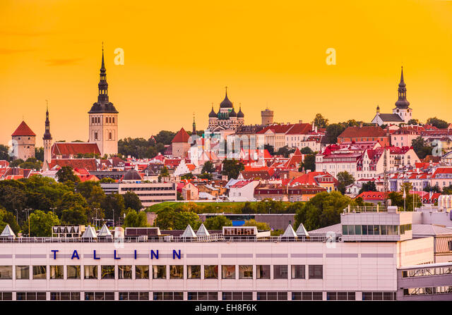 Tallinn, Estonia skyline from the port. - Stock Image