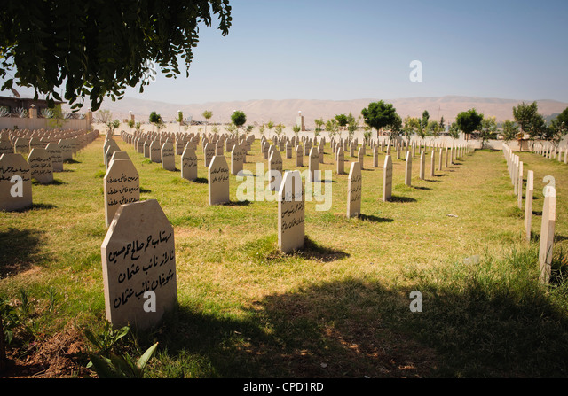 Memorial cemetery to the victims of Saddam Hussein's chemical gas attack on the Kurdish town of Halabja, Iraq, - Stock Image