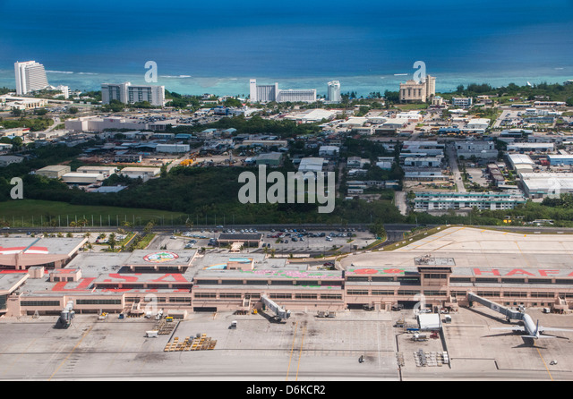 Aerial of the Airport of Guam, US Territory, Central Pacific, Pacific - Stock Image