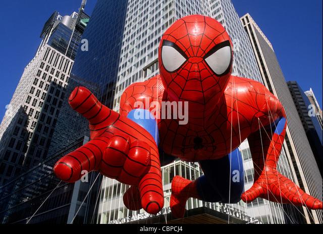 New York City Macy's Parade Spider-man Cartoon Balloon Macy's USA Sandra Baker - Stock Image