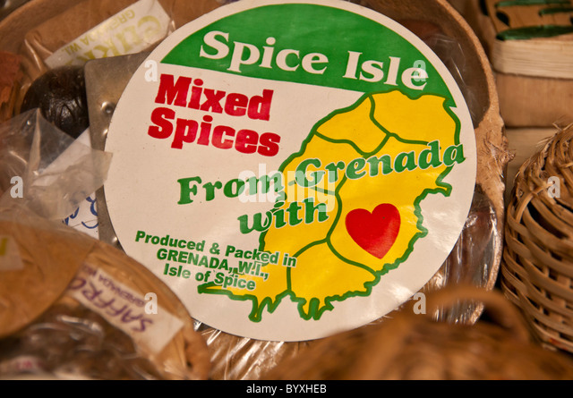 Grenada shopping souvenir of mixed spices at St Georges market - Stock Image
