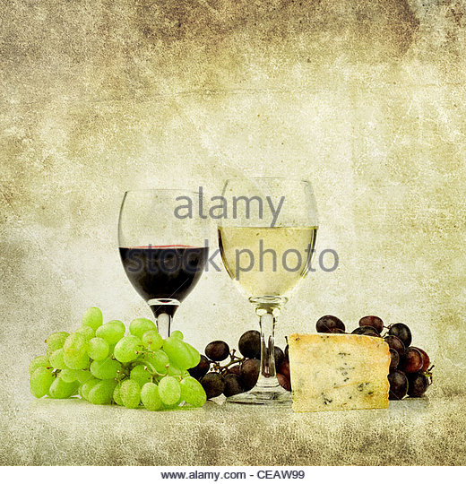 wine and cheese - Stock Image