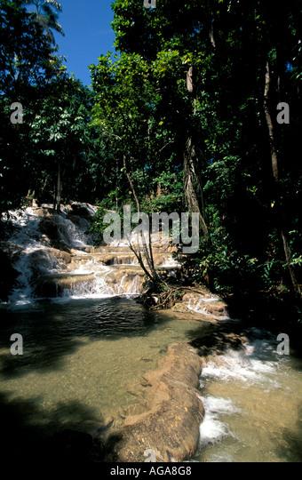 Jamaica Dunn's River Falls Ocho Rios Jamaican tourist attraction landmark - Stock Image