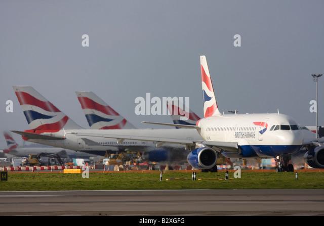 British Airways fleet at London Heathrow Airport - Stock Image