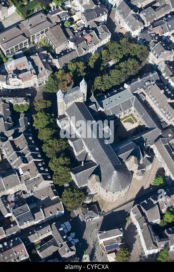 The Netherlands, Maastricht, church called Onze Lieve Vrouwe Basilica. Aerial. - Stock Image