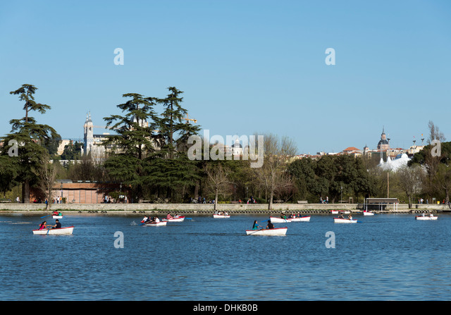 The boating lake in Casa de Campo, Madrid, Spain - Stock Image