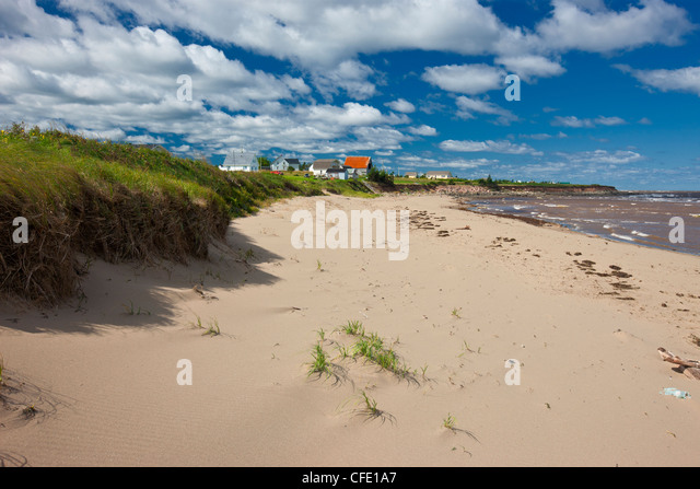 Beach, Wharf Road, Little Shemogue, Acadian Coast, New Brunswick, Canada - Stock Image