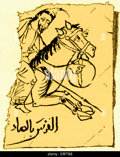 Arab horseman / rider - from an Arab papyrus from the 10th century. - Stock-Bilder