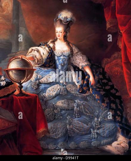 Marie Antoinette, Queen of France, in coronation robes by Jean-Baptiste Gautier Dagoty, 1775. Maria Antoinette 1755 - Stock Image