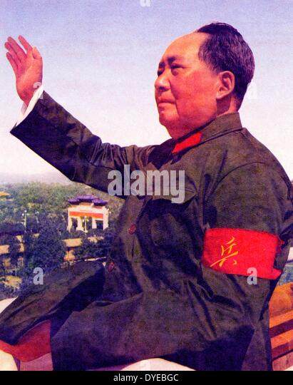 Mao Ze Dung 1893-1976. Chinese Communist Party leader and Chinese leader 1949-1976 reviewing red guards circa 1965 - Stock-Bilder