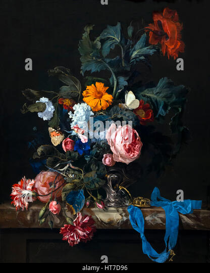 Flower Still Life with a Timepiece, by Willem van Aelst, 1663, Royal Art Gallery, Mauritshuis Museum, The Hague, - Stock Image