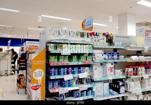 Reading, UK - June 17th 2017: Shelf of smoking alternatives and nicotine substitutes in the Boots the Chemist pharmacy - Stock Image