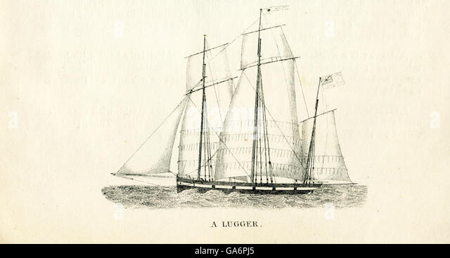 The ship pictured here is a lugger. The illustration dates to the 1800s. - Stock-Bilder
