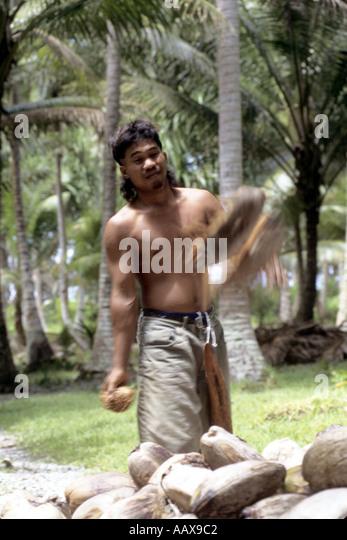 Copra worker Marshall Islands - Stock Image