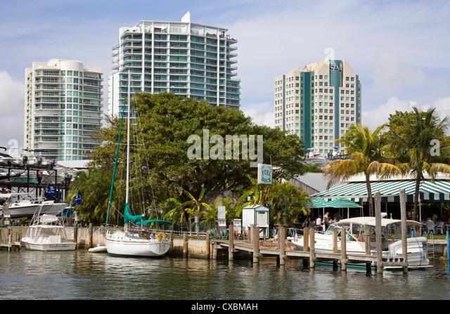 Dinner Key Marina in Coconut Grove, Miami, Florida, United States of America, North America - Stock Image