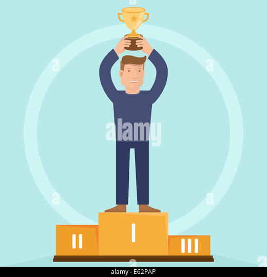 Victory concept - man holding golden bowl - illustration in flat retro style - Stock-Bilder