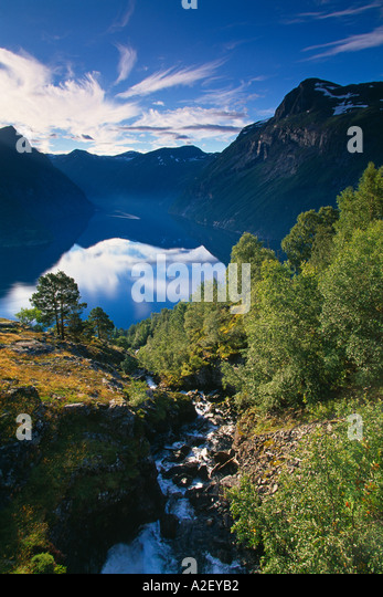 Gerainger Fjord Norway - Stock Image