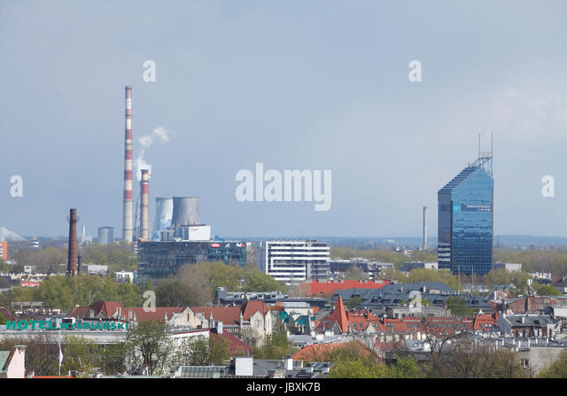 City Skyline with Power Plant, High Rise and Roofs, view from City Hall Tower, Krakow, Lesser Poland, Poland, Europe - Stock-Bilder