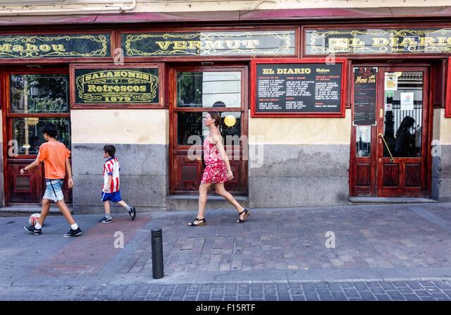 Madrid Spain Europe Spanish Centro Barrio de las Letras neighborhood Calle de Las Huertas El Diario restaurant exterior - Stock Image