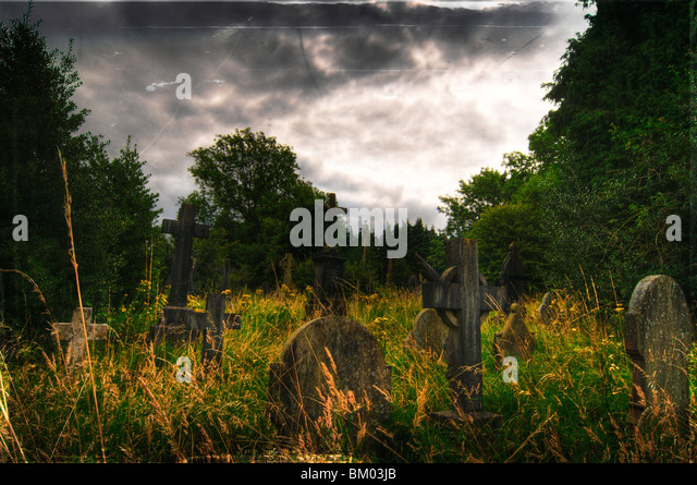Gravestones at Cathays Cemetery, Cardiff Wales - Stock Image