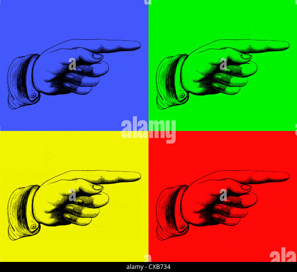 multicolored view of a hand print - Stock Image