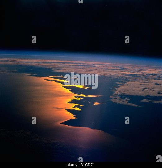 The Earth from Space Sunrise on the Mozambique Channel along the coast of Madagascar - Stock Image