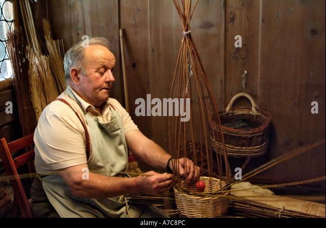 Traditional Basket Making : Weaving basket men stock photos