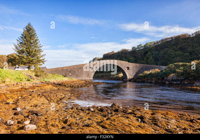 The Clachan Bridge, known as the Bridge Over the Atlantic, which connects the Scottish mainland with the Island - Stock Image