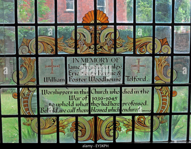 St Cuthberts Church,Carlisle,Cumbria,England,UK interior-stained Glass James French - Stock Image