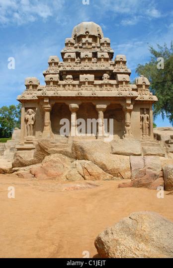 Arjuna Rath, Mahabalipuram, circa 7th.century CE. Built by Pallava king Narsimha. Kancheepuram district, Tamil Nadu, - Stock Image