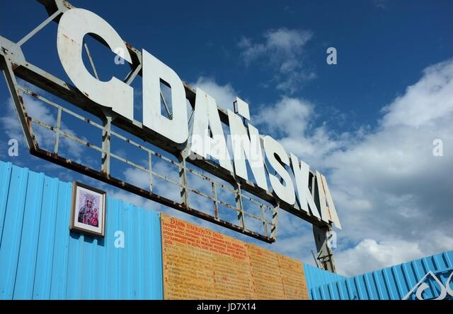 Sign saying 'Gdansk' outside the European Solidarity Museum in Gdansk, Poland, central/eastern Europe. June - Stock Image