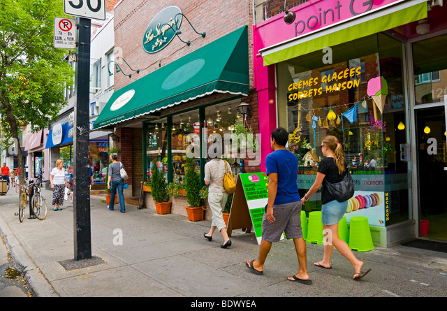 Shopping on Mont Royal Avenue Montreal, Quebec, Canada - Stock Image