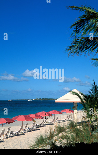 CARIBBEAN Chairs Pink Umbrellas on Beach Blue Sky provo providenciales - Stock Image